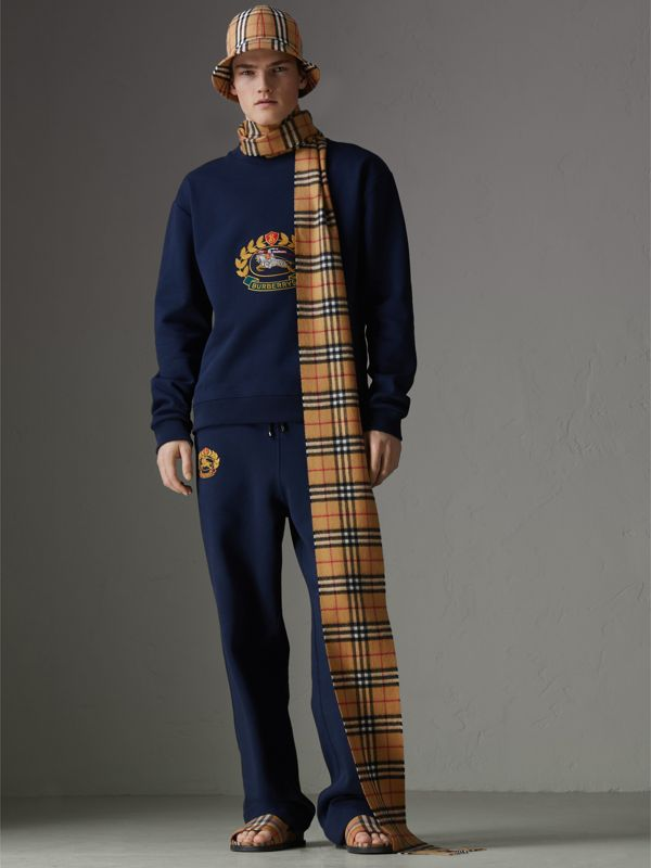 Long Vintage Check Cashmere Scarf in Antique Yellow | Burberry - cell image 3