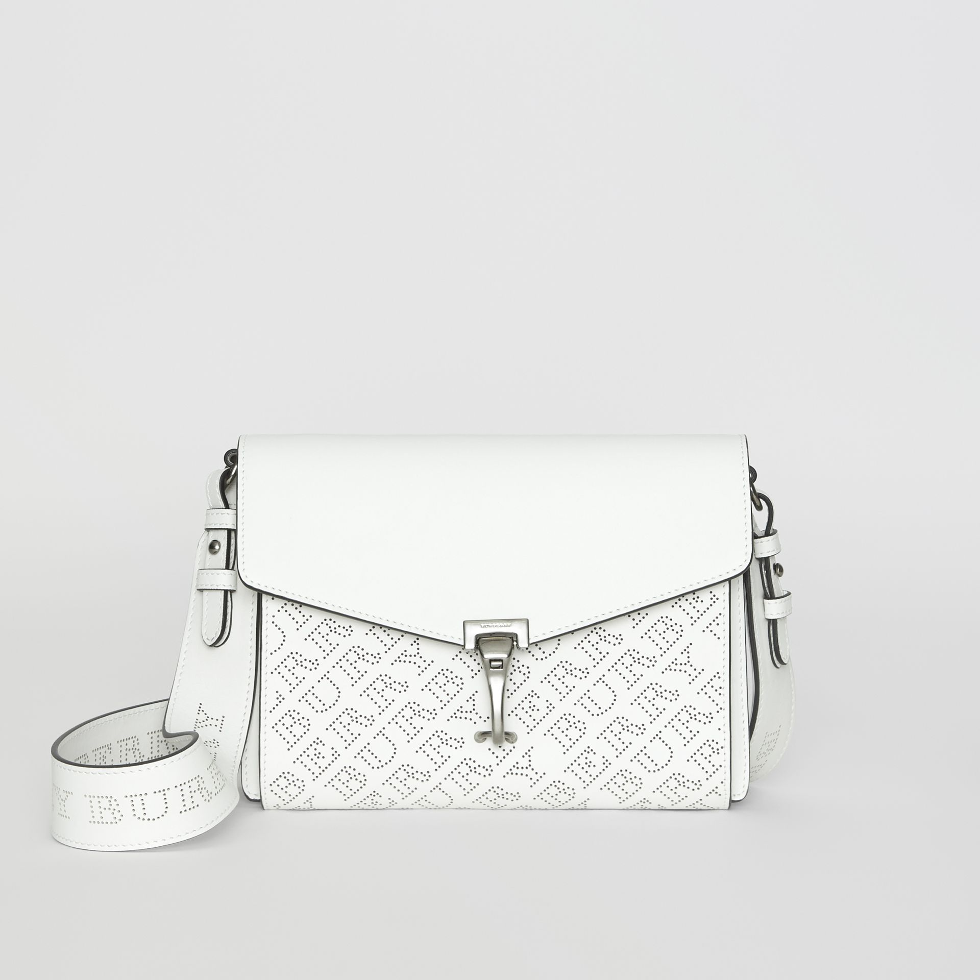 Small Perforated Logo Leather Crossbody Bag in Chalk White - Women | Burberry Australia - gallery image 0