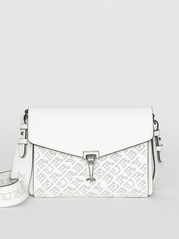 Small Perforated Logo Leather Crossbody Bag in Chalk White