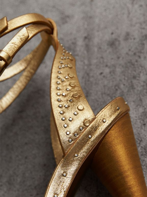 Riveted Metallic Leather High Cone-heel Sandals in Gold | Burberry United Kingdom - cell image 1