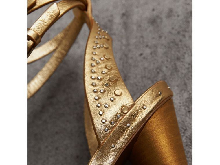 Riveted Metallic Leather High Cone-heel Sandals in Gold | Burberry Australia - cell image 1