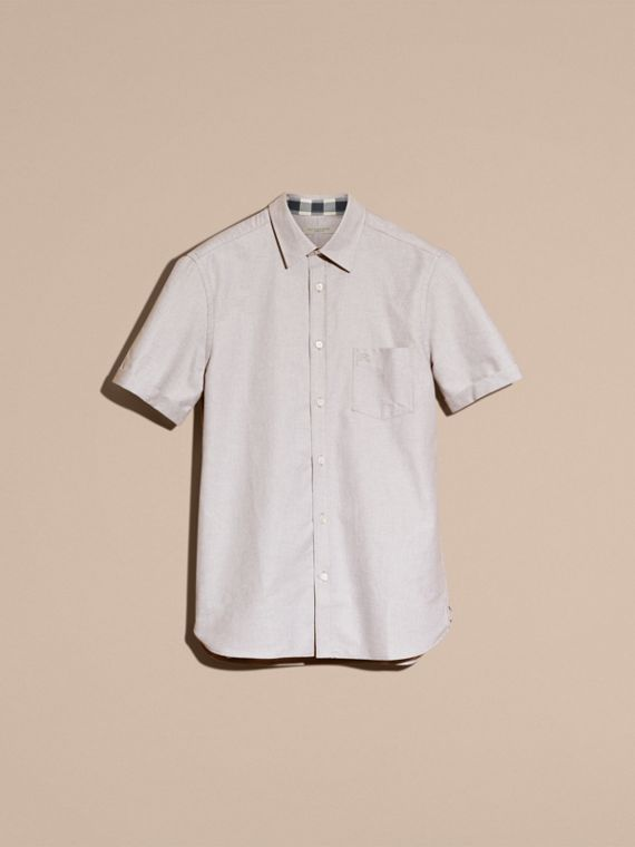 Charcoal Check Detail Short-Sleeved Cotton Oxford Shirt - cell image 3