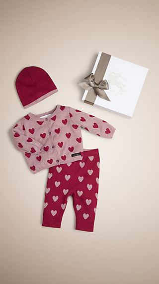 Heart Print Cashmere Three-Piece Baby Gift Set