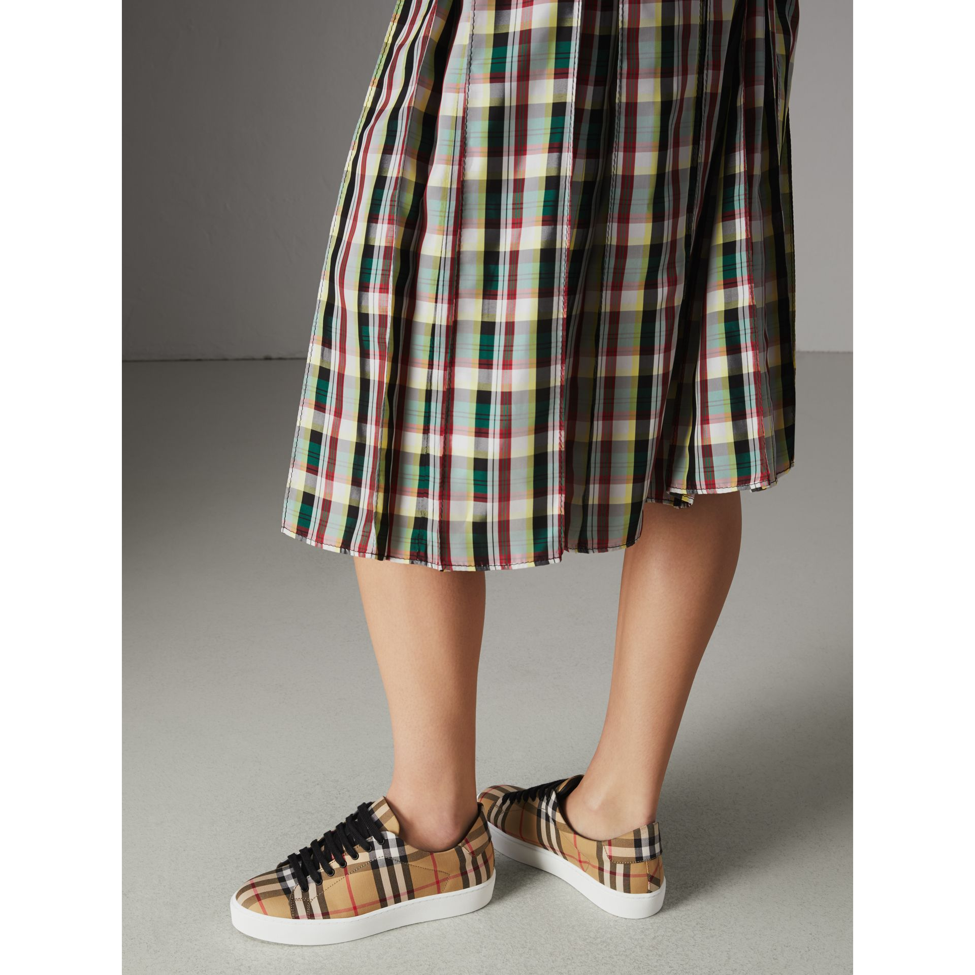 Vintage Check and Leather Sneakers in Antique Yellow - Women | Burberry Singapore - gallery image 2