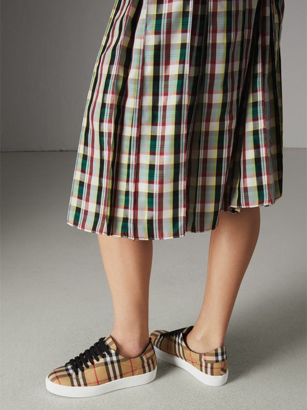 Vintage Check and Leather Sneakers in Antique Yellow - Women | Burberry Singapore - cell image 2