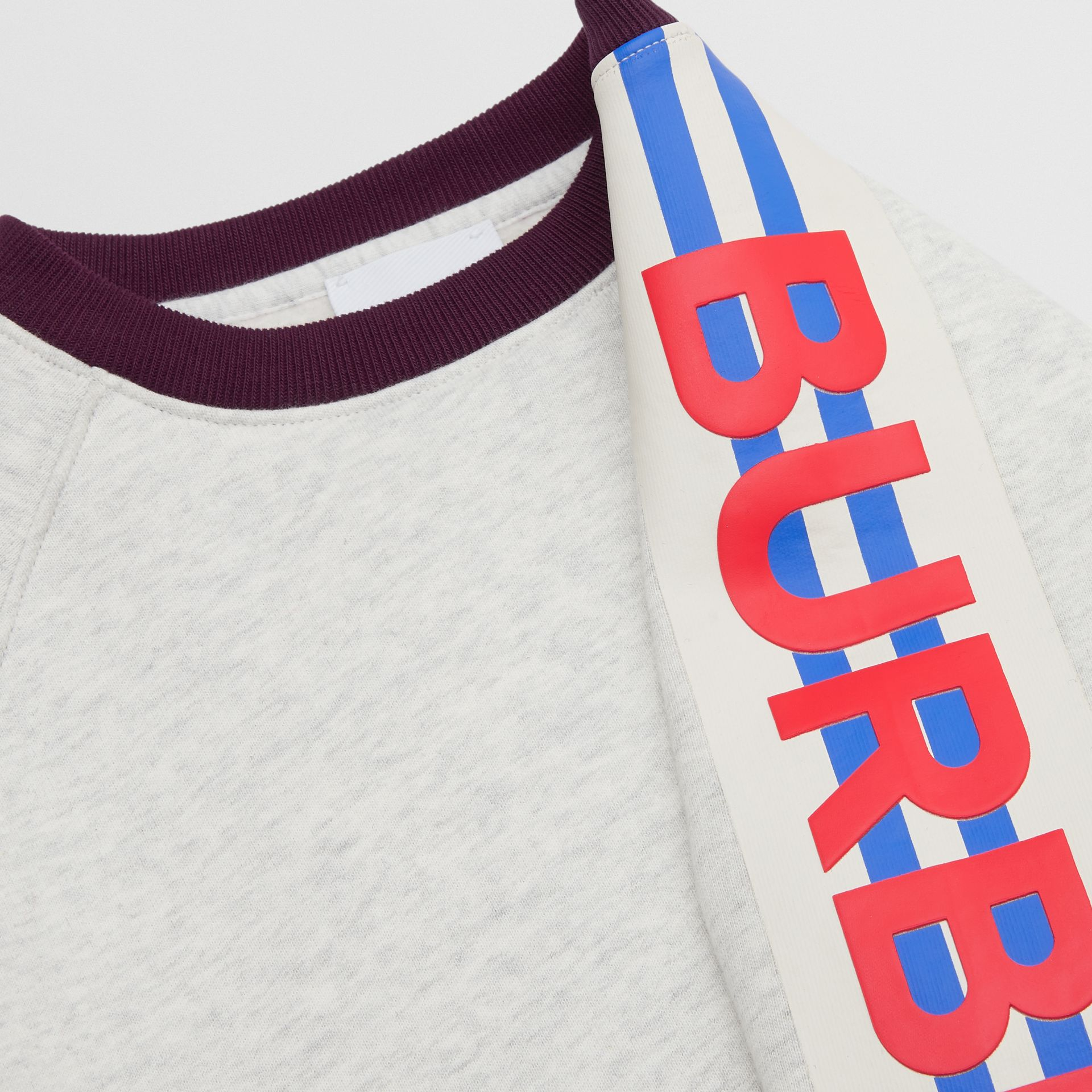 Logo Print Jersey Sweatshirt in White Melange | Burberry United Kingdom - gallery image 1
