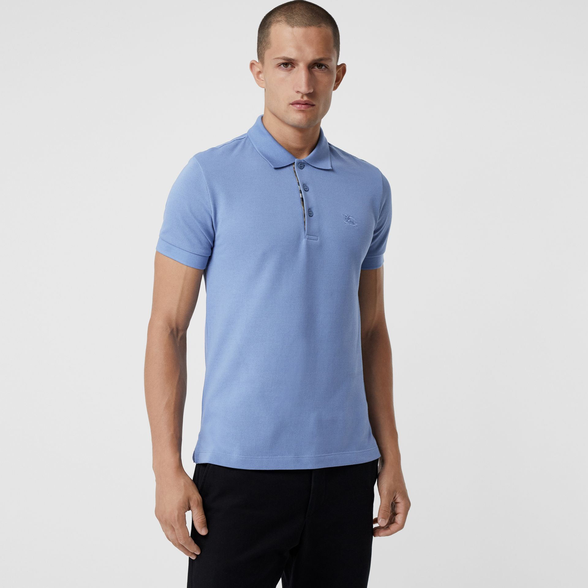 Check Placket Cotton Polo Shirt in Light Blue - Men | Burberry - gallery image 0