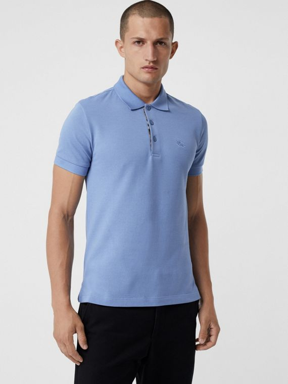Check Placket Cotton Polo Shirt in Light Blue