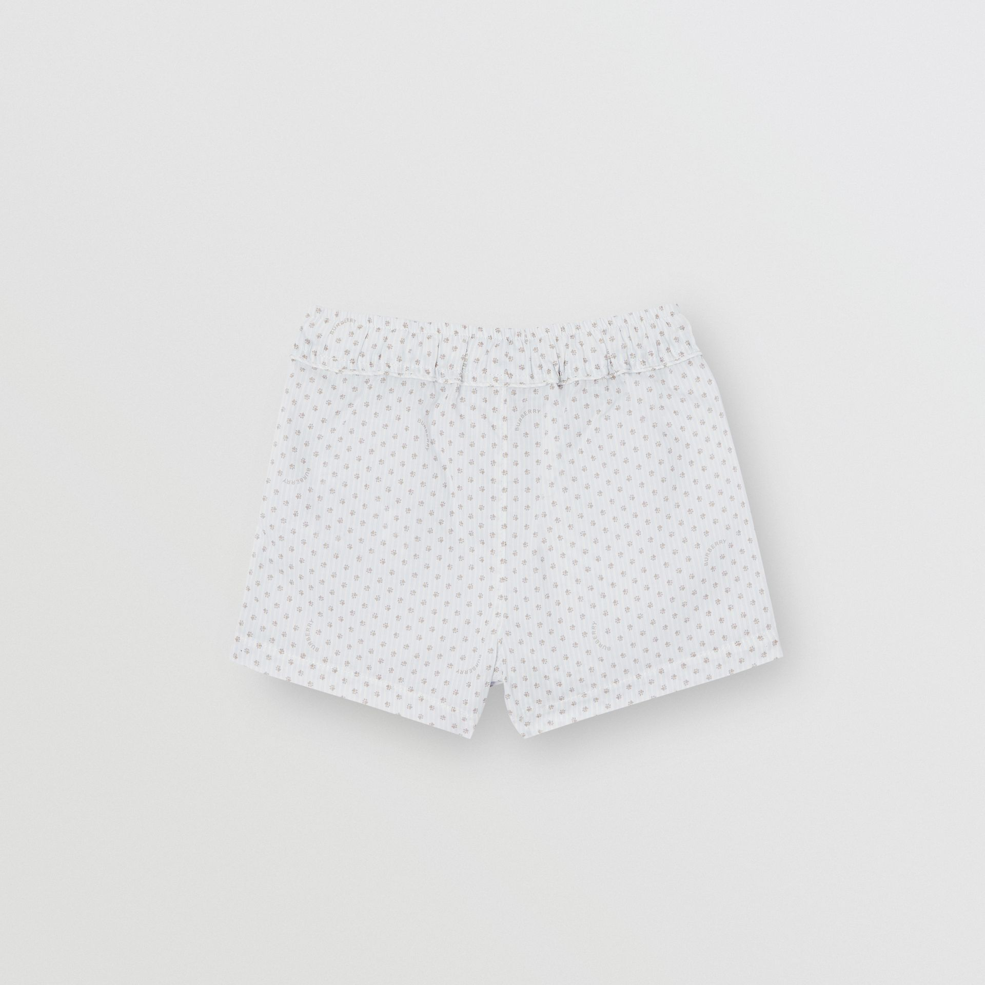 Paw Print Striped Cotton Three-piece Baby Gift Set in Natural White - Children | Burberry - gallery image 6