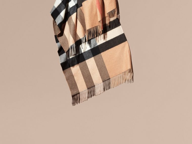 Camel Check Cashmere Poncho - cell image 1