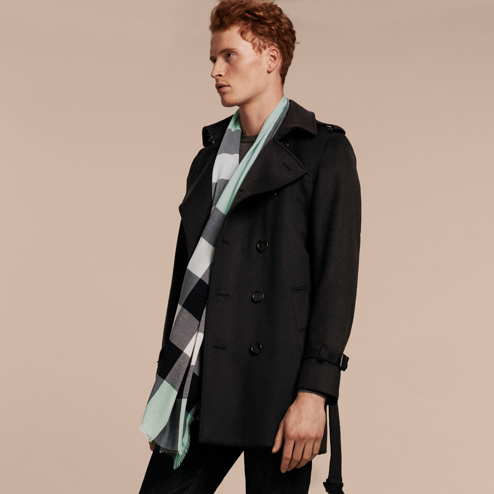 The Lightweight Cashmere Scarf in Check Dusty Mint - gallery image 4