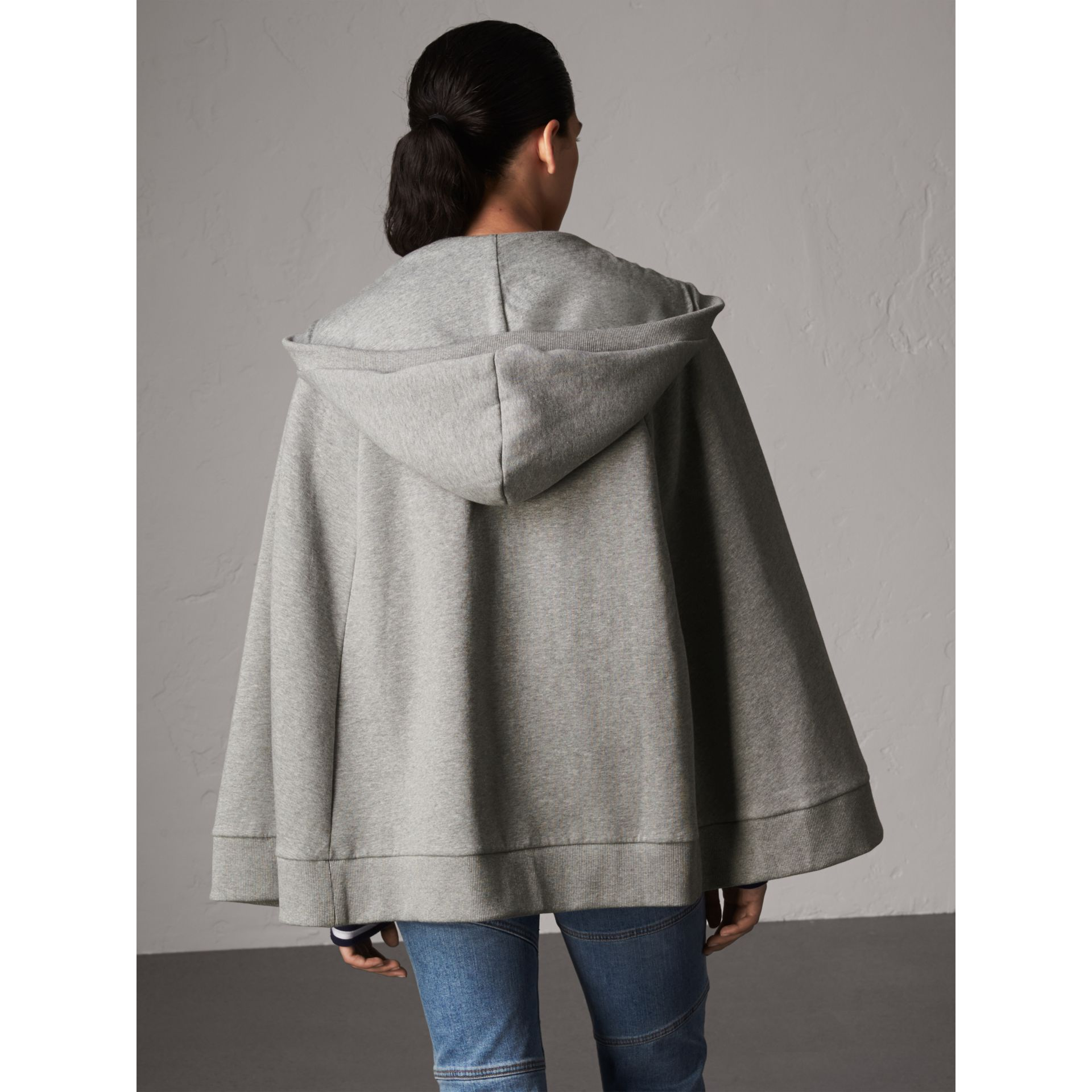 Jersey Hooded Cape in Pale Grey Melange - Women | Burberry United Kingdom - gallery image 3