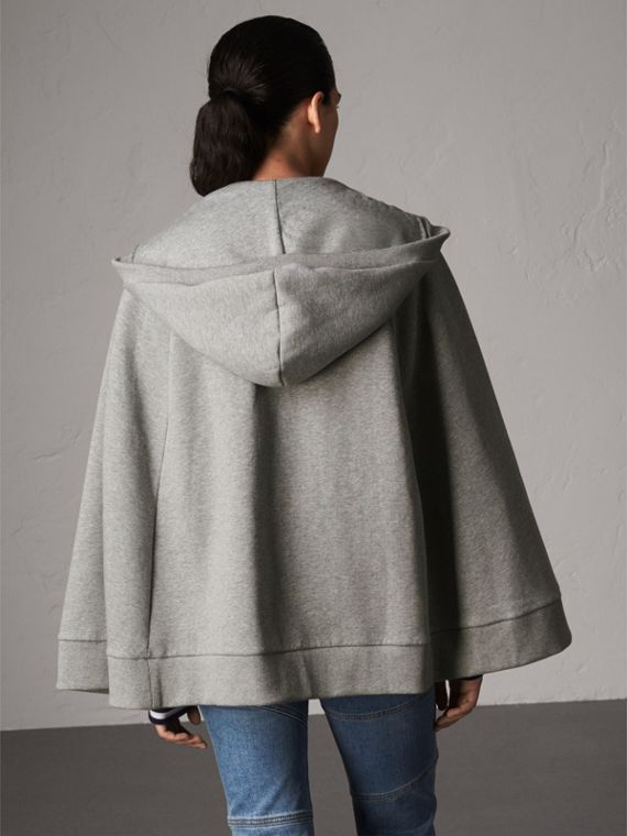 Jersey Hooded Cape in Pale Grey Melange - Women | Burberry - cell image 2