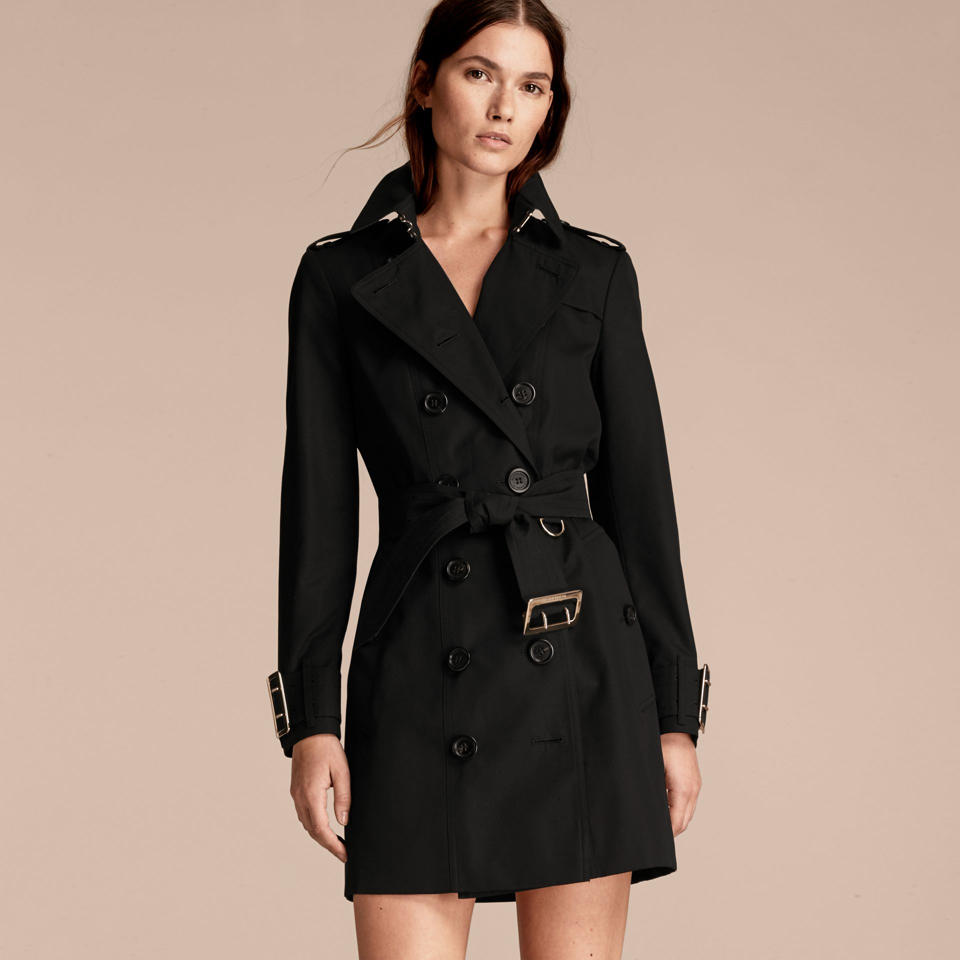 Black Cotton Gabardine Trench Coat with Oversize Buckle Detail Black - gallery image 6