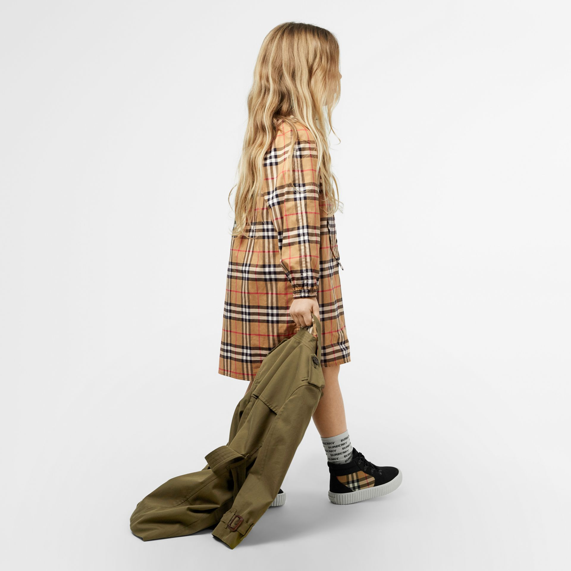 Vintage Check Cotton Shirt Dress in Antique Yellow | Burberry - gallery image 3