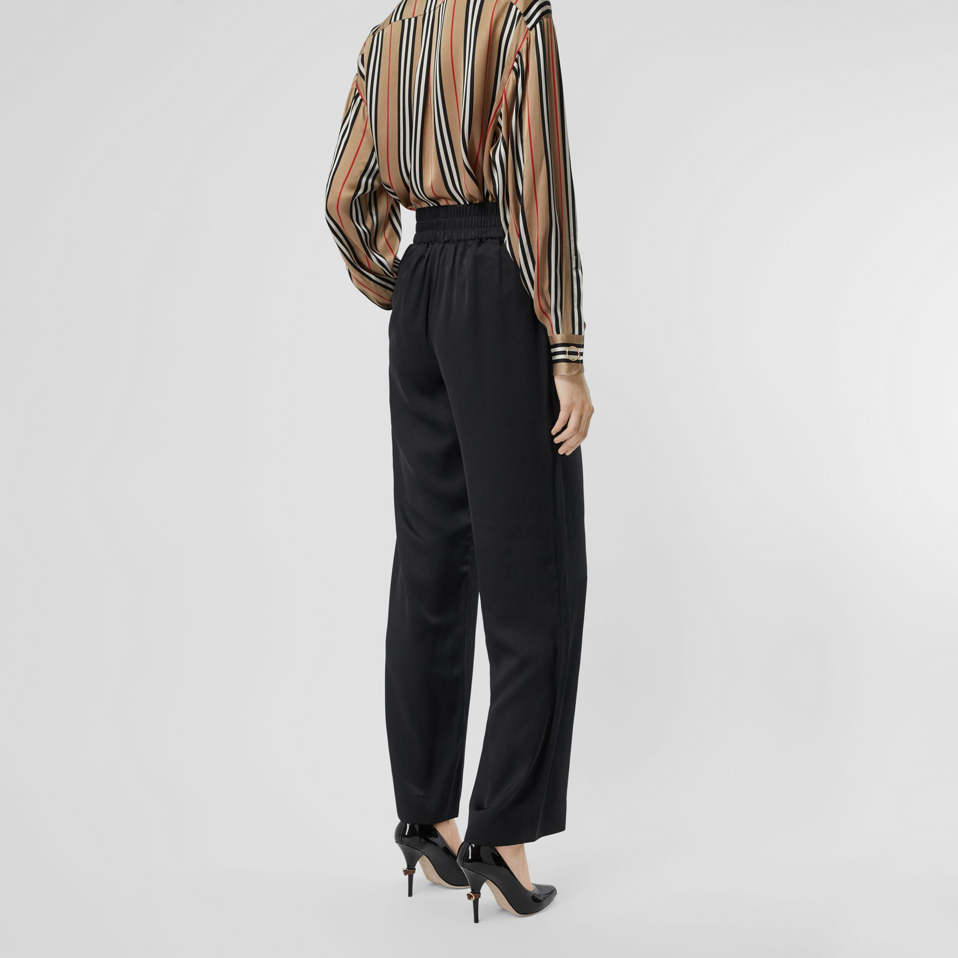 Silk Satin Trousers in Black - Women | Burberry United States - gallery image 2