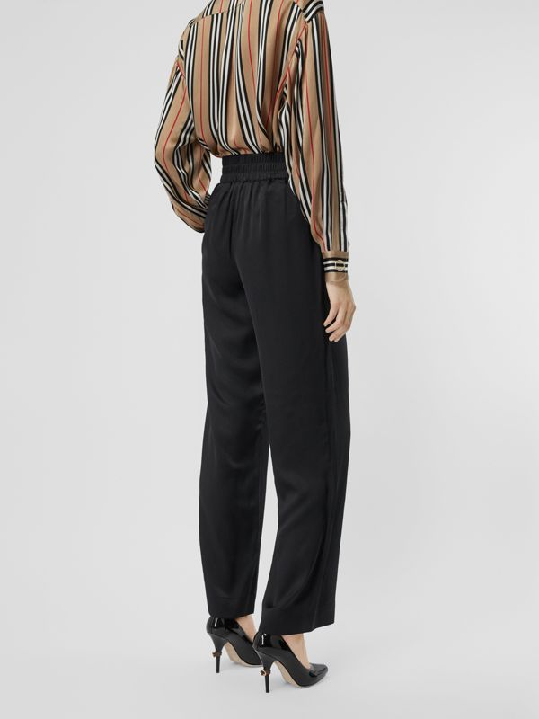 Silk Satin Trousers in Black - Women | Burberry United States - cell image 2