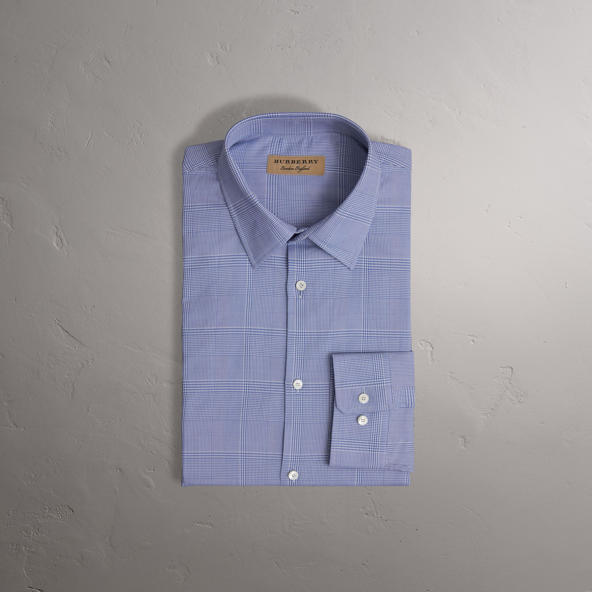 Modern Fit Check Cotton Shirt in City Blue - Men | Burberry United Kingdom - gallery image 0