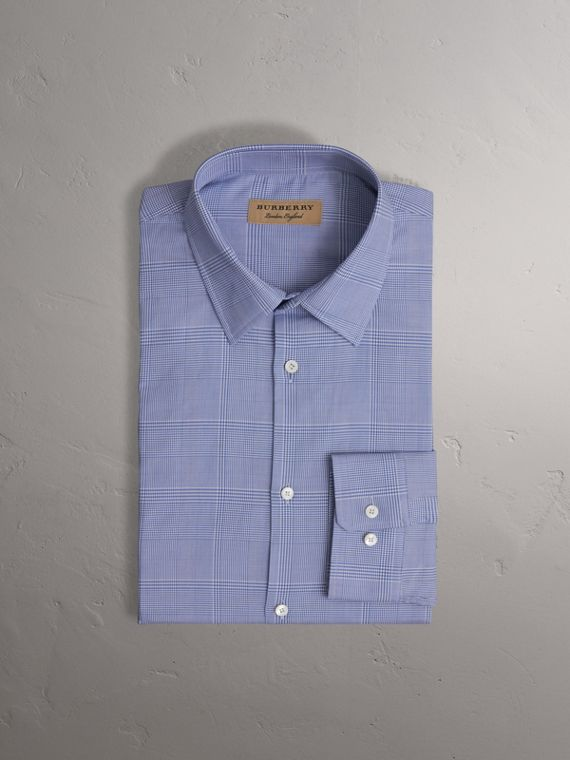 Modern Fit Check Cotton Shirt in City Blue