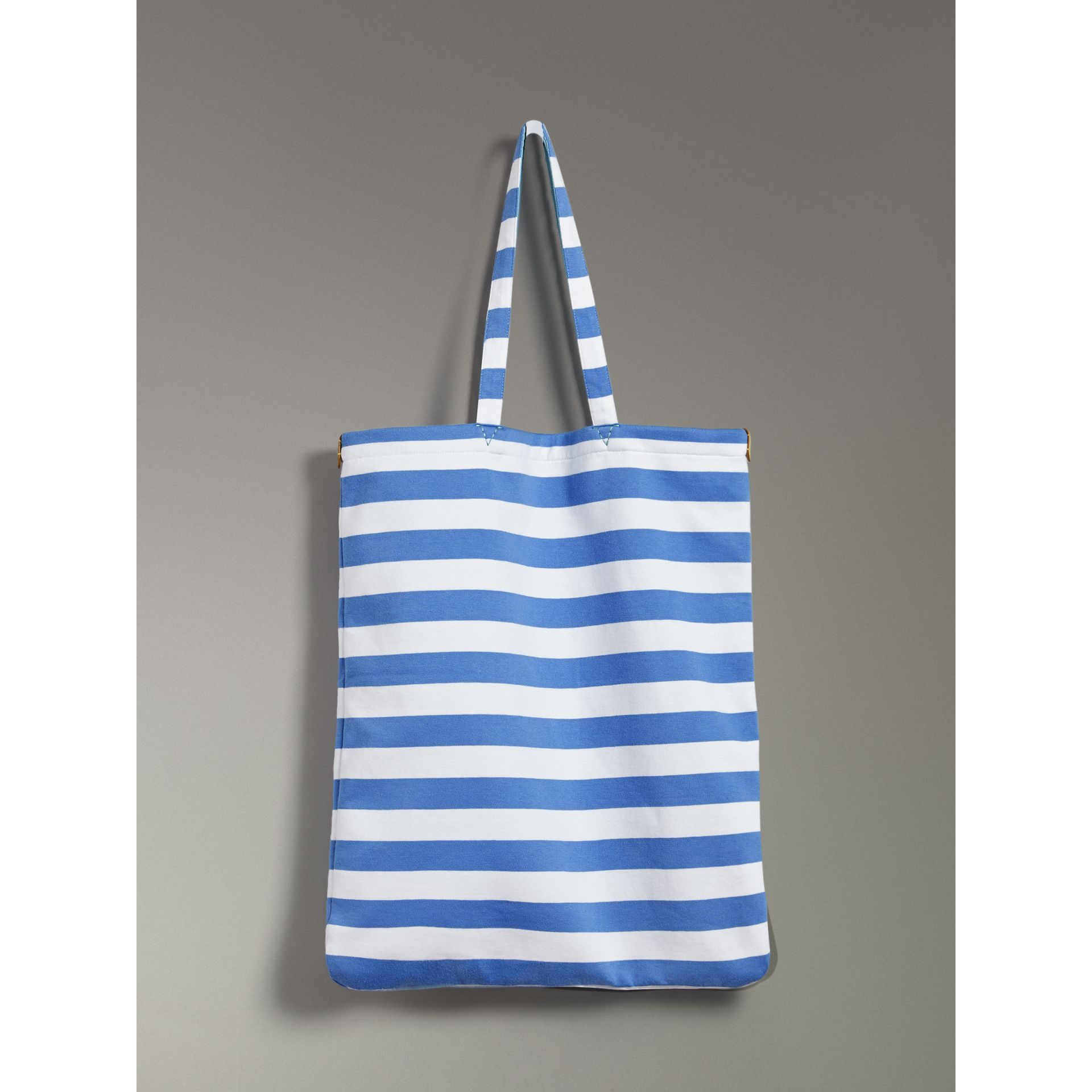 Large Archive Logo Striped Jersey Shopper in Sky Blue/white | Burberry - gallery image 6