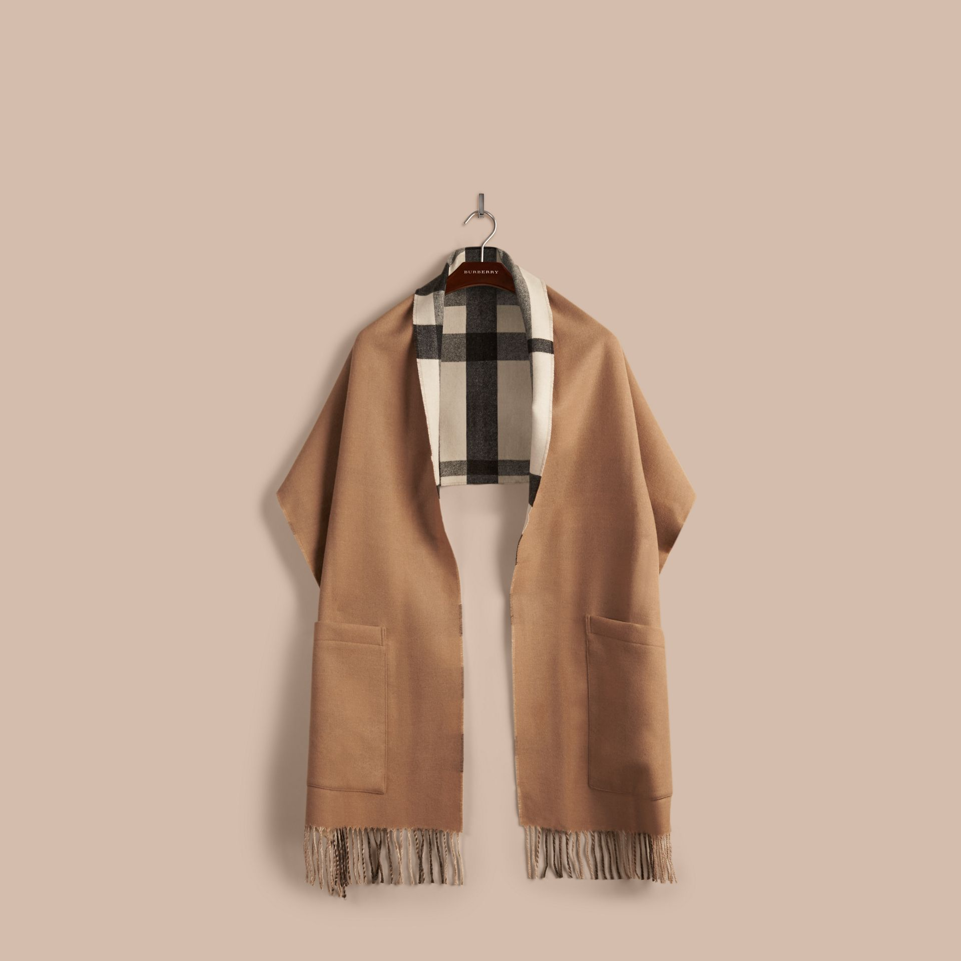 Check Lined Wool Cashmere Stole in Ivory - Women | Burberry - gallery image 4
