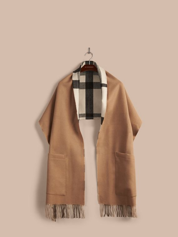 Check Lined Wool Cashmere Stole in Ivory - Women | Burberry - cell image 3