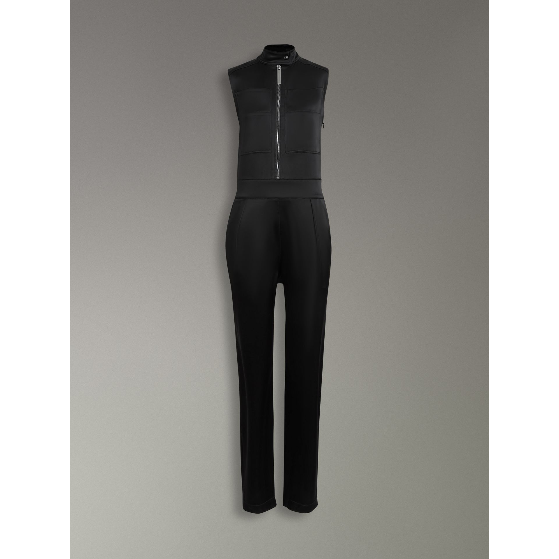 Sleeveless Satin Zip-front Jumpsuit in Black - Women | Burberry - gallery image 3