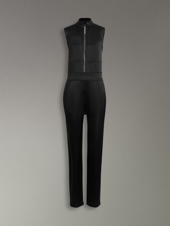 Sleeveless Satin Zip-front Jumpsuit in Black - Women | Burberry - cell image 3