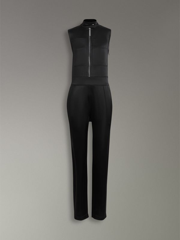 Sleeveless Satin Zip-front Jumpsuit in Black - Women | Burberry United States - cell image 3