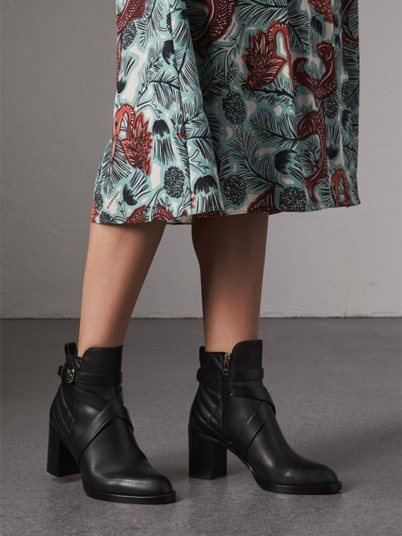 Strap Detail Quilted Leather Ankle Boots in Black - Women | Burberry Singapore - cell image 2