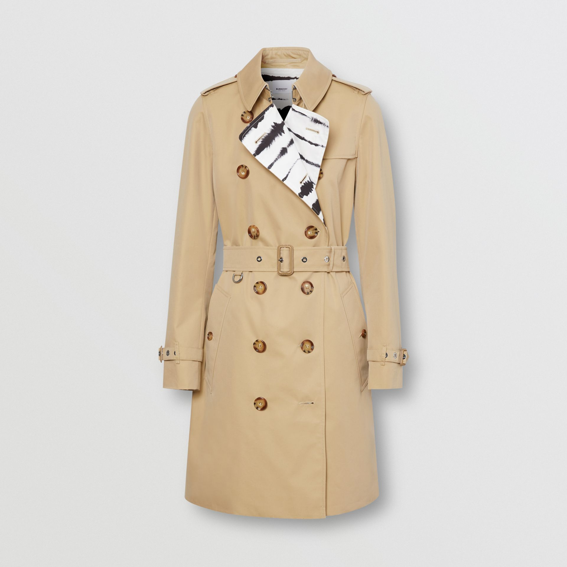 Watercolour Print-lined Cotton Gabardine Trench Coat in Honey - Women | Burberry - gallery image 3