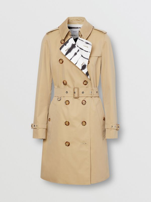Watercolour Print-lined Cotton Gabardine Trench Coat in Honey - Women | Burberry - cell image 3