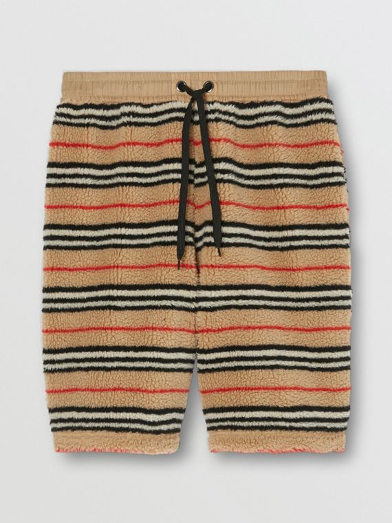 Icon Stripe Fleece Drawcord Shorts in Archive Beige