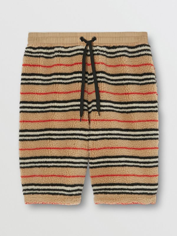 Icon Stripe Fleece Drawcord Shorts in Archive Beige - Men | Burberry - cell image 3