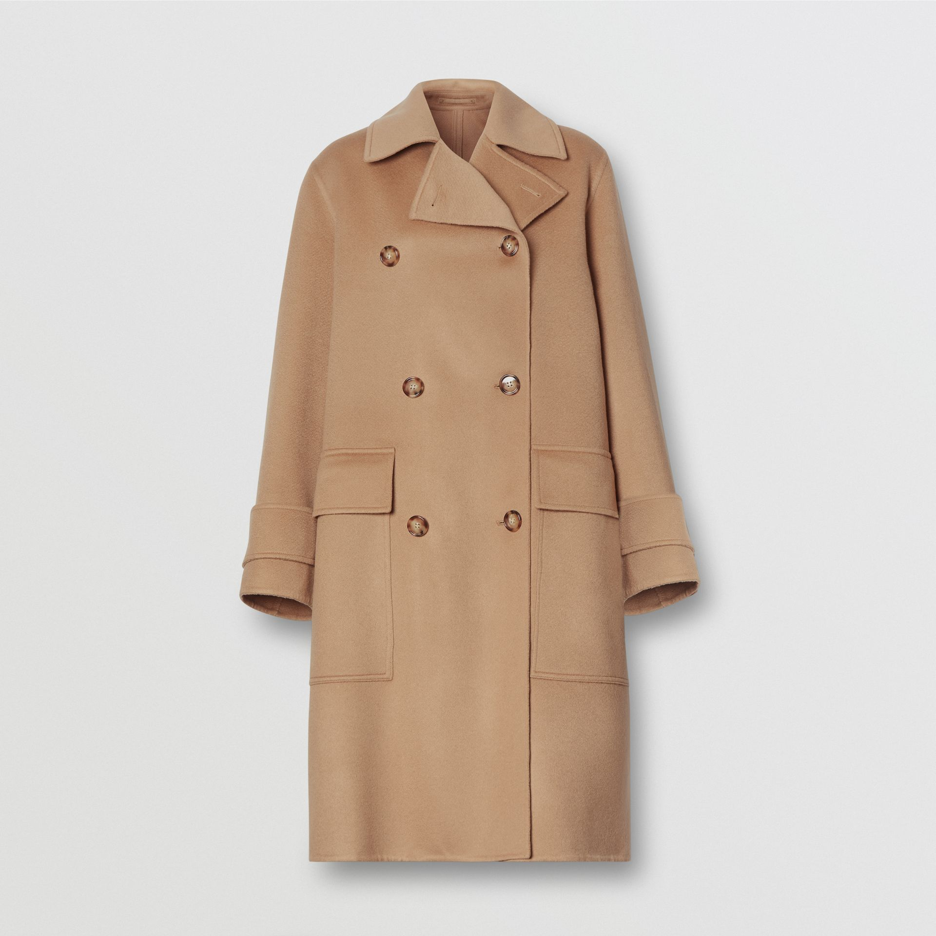 Double-faced Cashmere Oversized Coat in Light Camel - Women | Burberry United Kingdom - gallery image 3