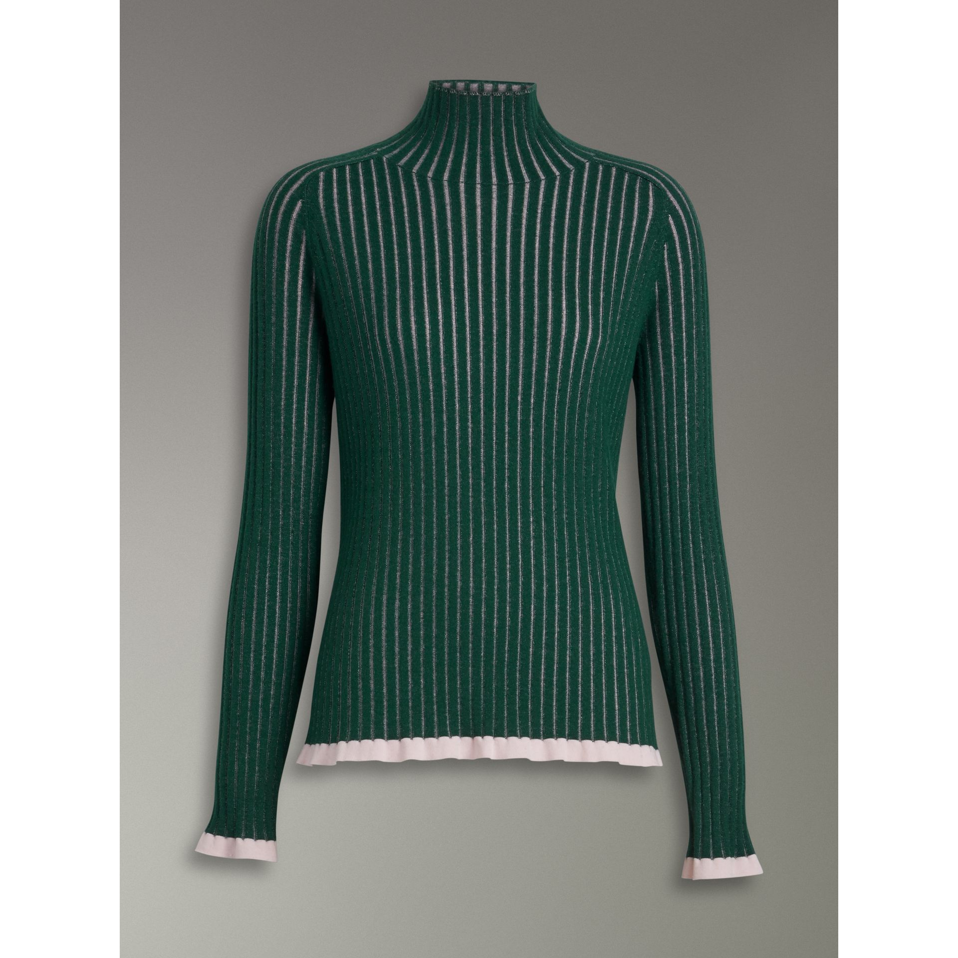 Silk Cashmere Turtleneck Sweater in Dark Forest Green - Women | Burberry United Kingdom - gallery image 3