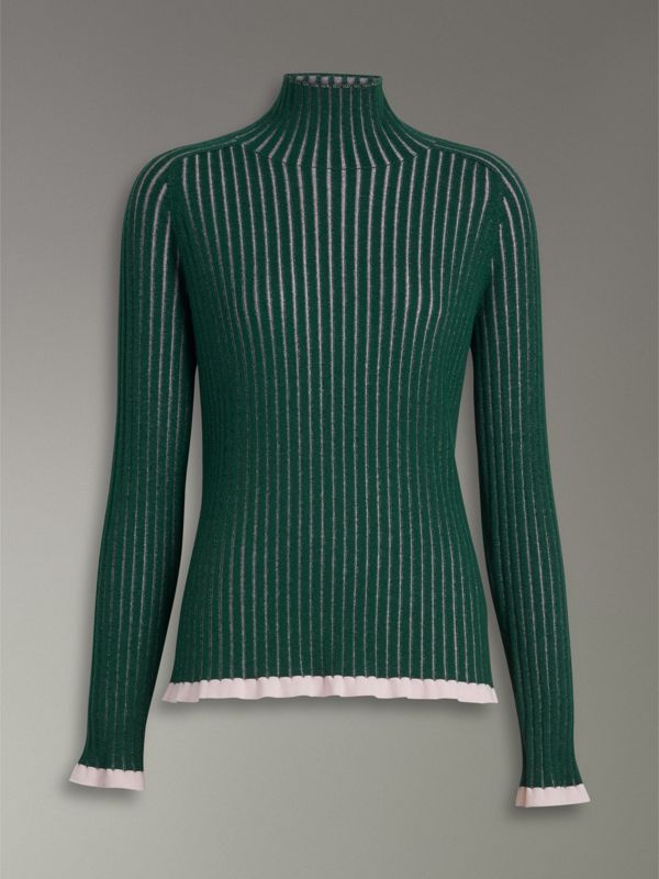 Silk Cashmere Turtleneck Sweater in Dark Forest Green - Women | Burberry United Kingdom - cell image 3