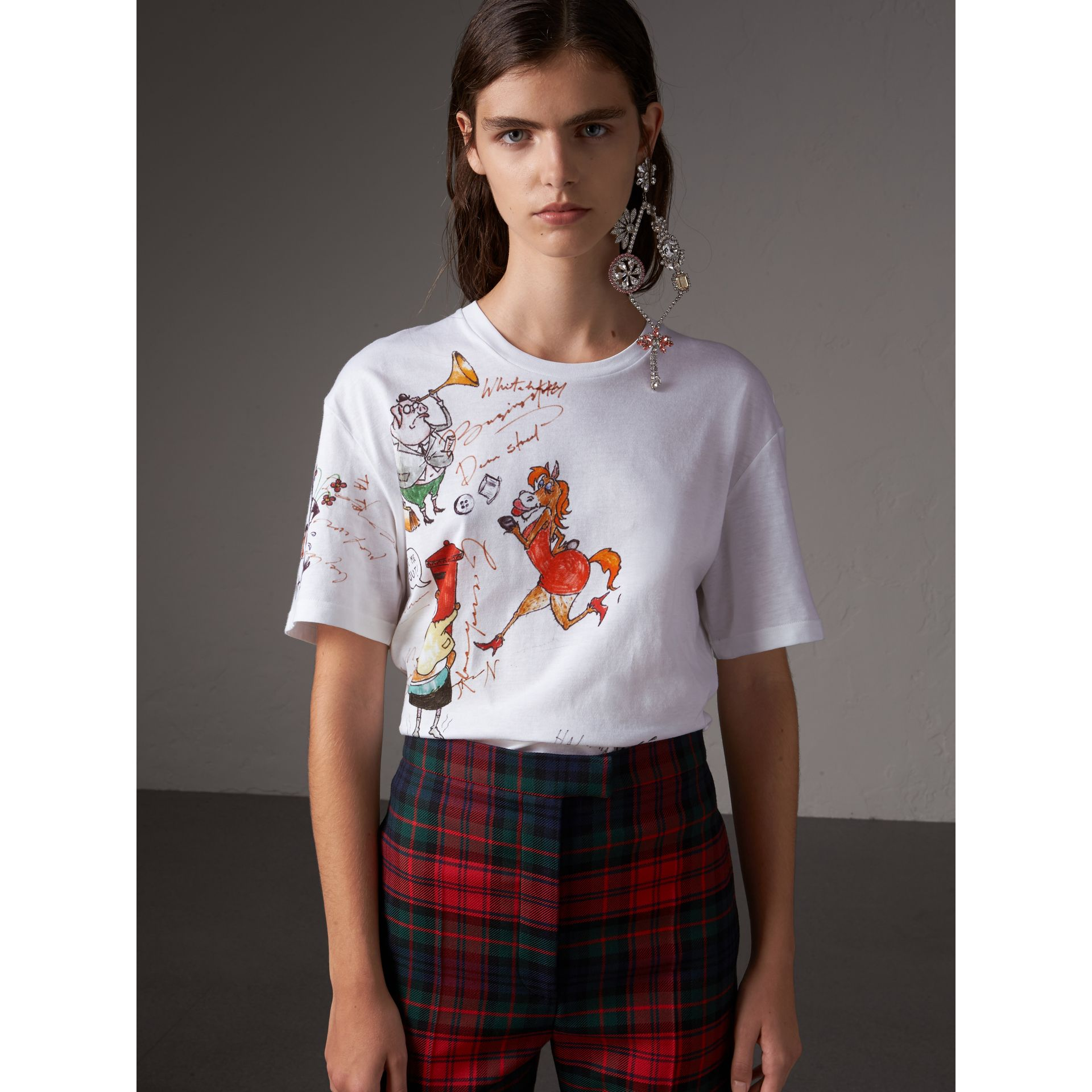 Sketch Print Cotton T-shirt in White - Women | Burberry - gallery image 0