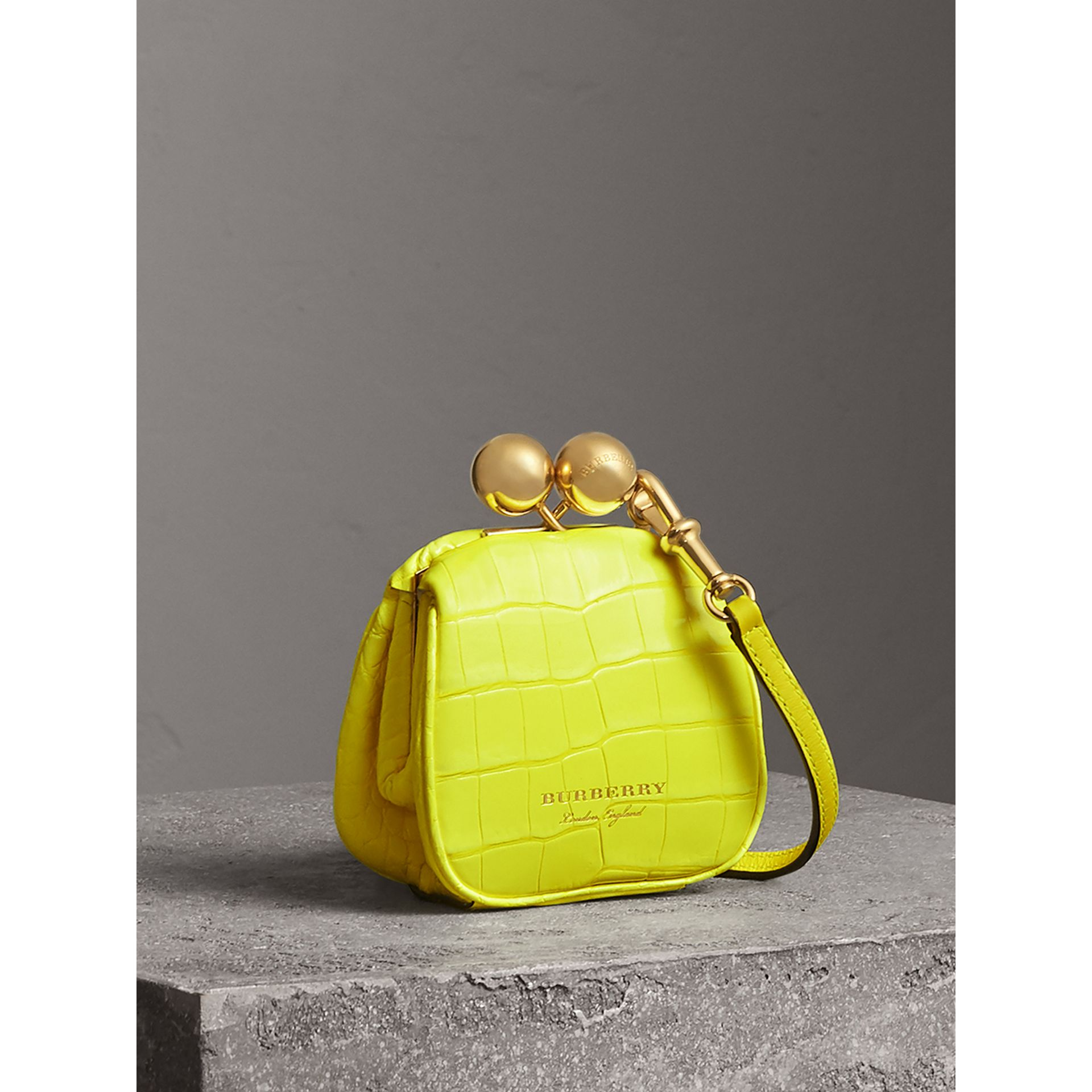 Mini Alligator Metal Frame Clutch Bag in Neon Yellow - Women | Burberry - gallery image 5
