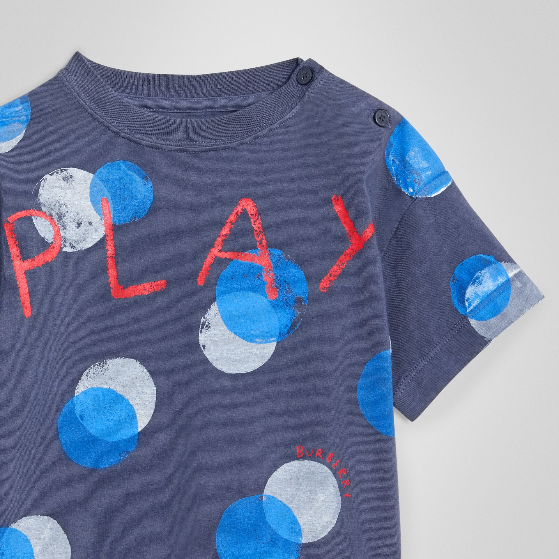 Oversized Spot Print Cotton T-shirt in Navy Melange - Children | Burberry Canada - gallery image 4