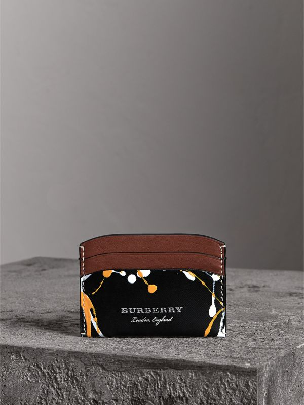 Splash Trench Leather Card Case in Black/tan | Burberry - cell image 3