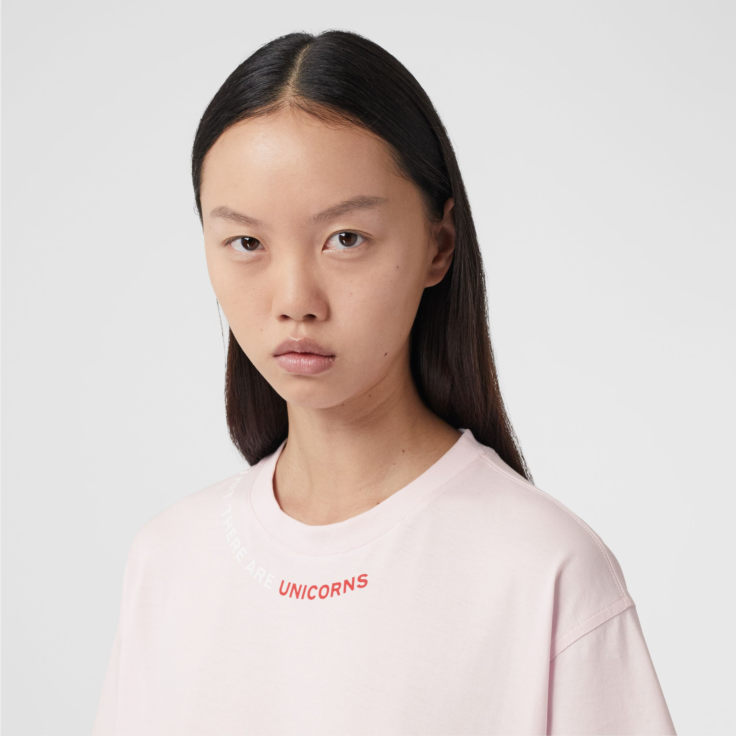 Quote Print Cotton Oversized T-shirt in Pale Pink - Women | Burberry - 2