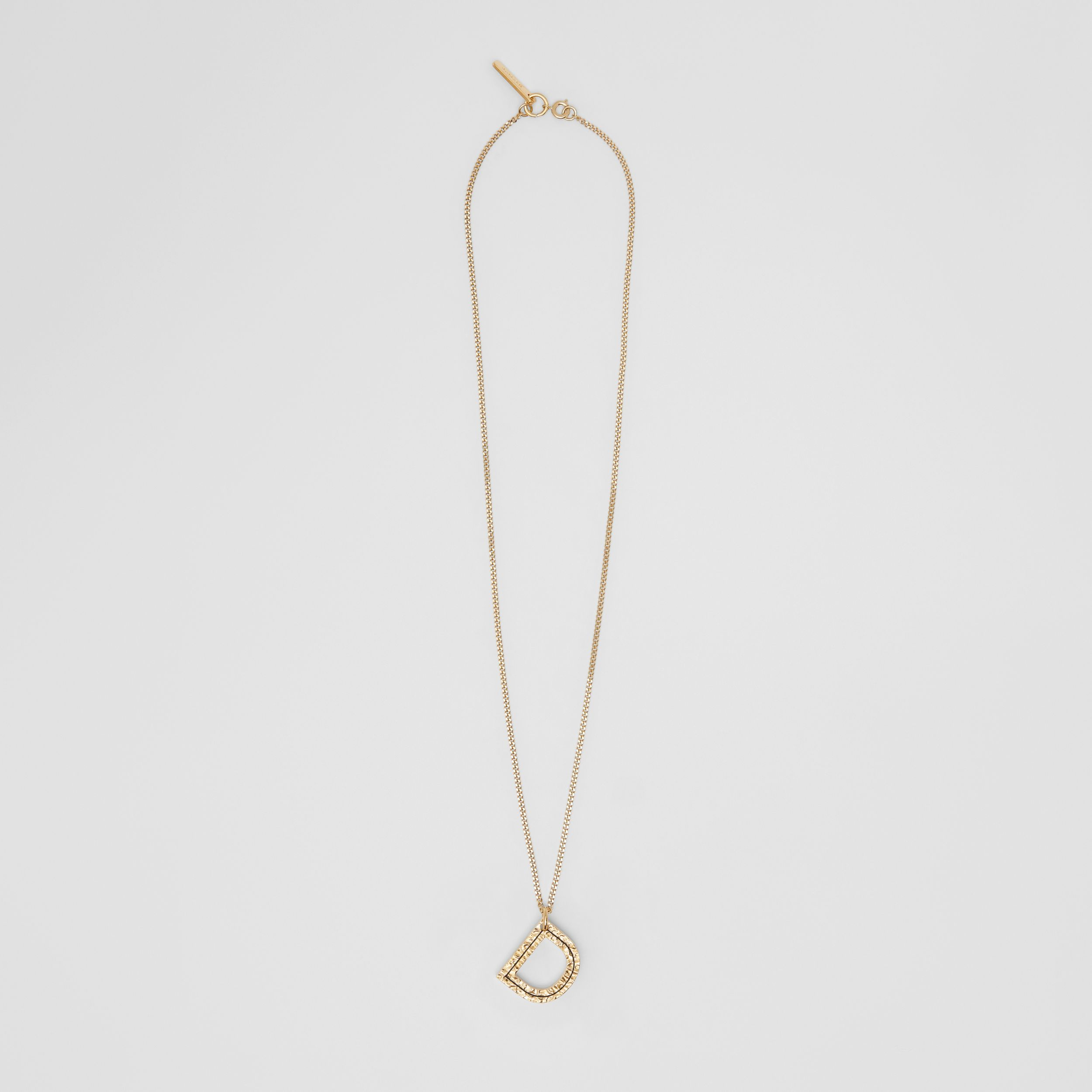 'D' Alphabet Charm Gold-plated Necklace in Light - Women | Burberry - 1