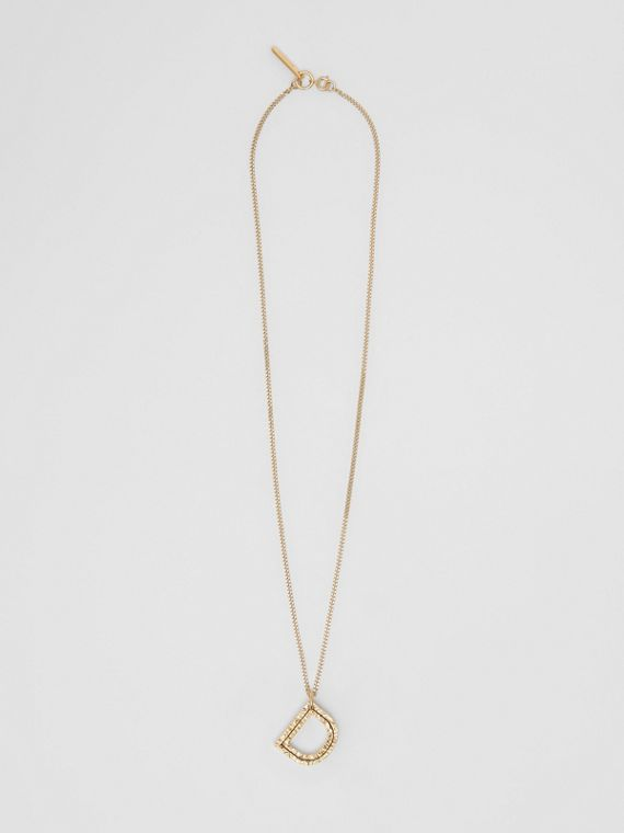'D' Alphabet Charm Gold-plated Necklace in Light
