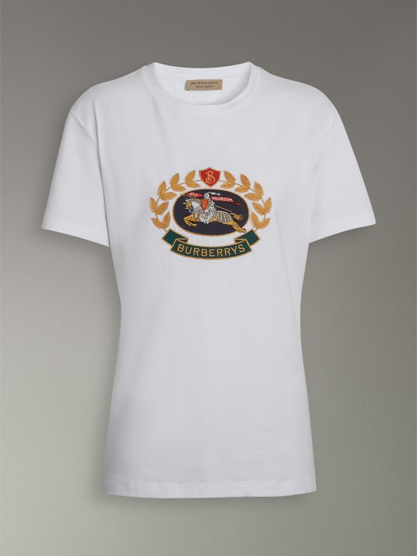 Embroidered Archive Logo Cotton T-shirt in White - Women | Burberry United Kingdom - cell image 3