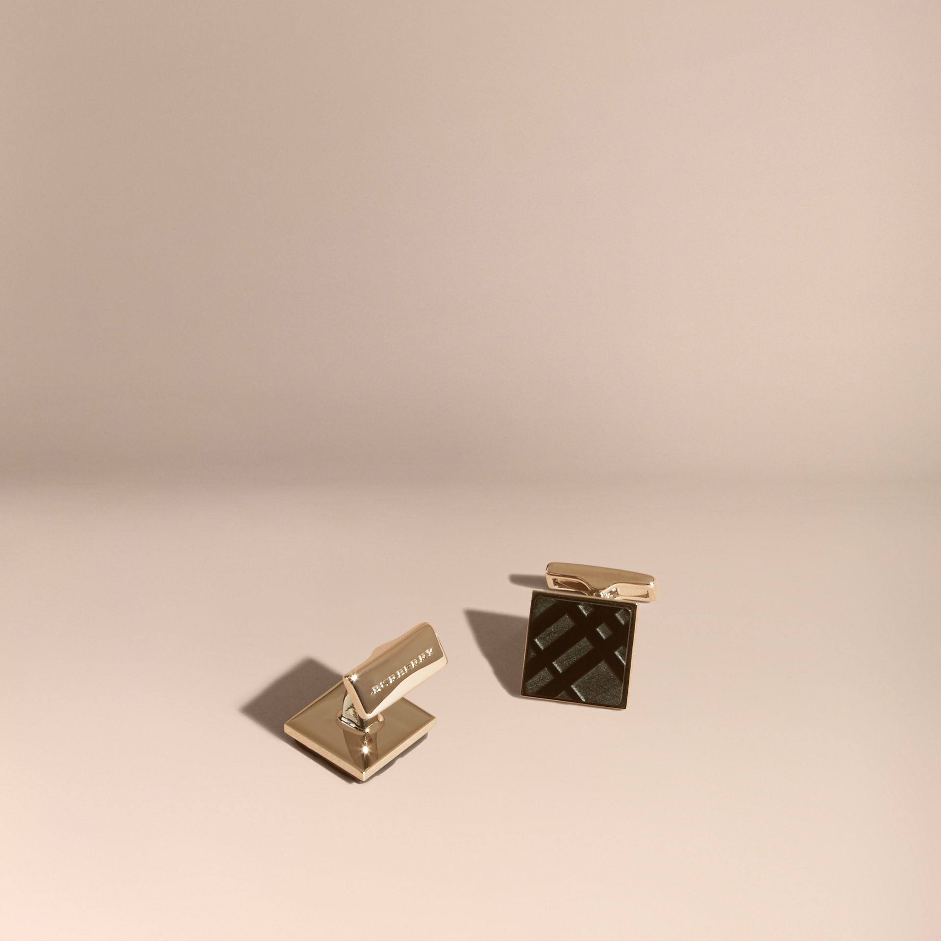 Check-engraved Square Cufflinks in Black - gallery image 1