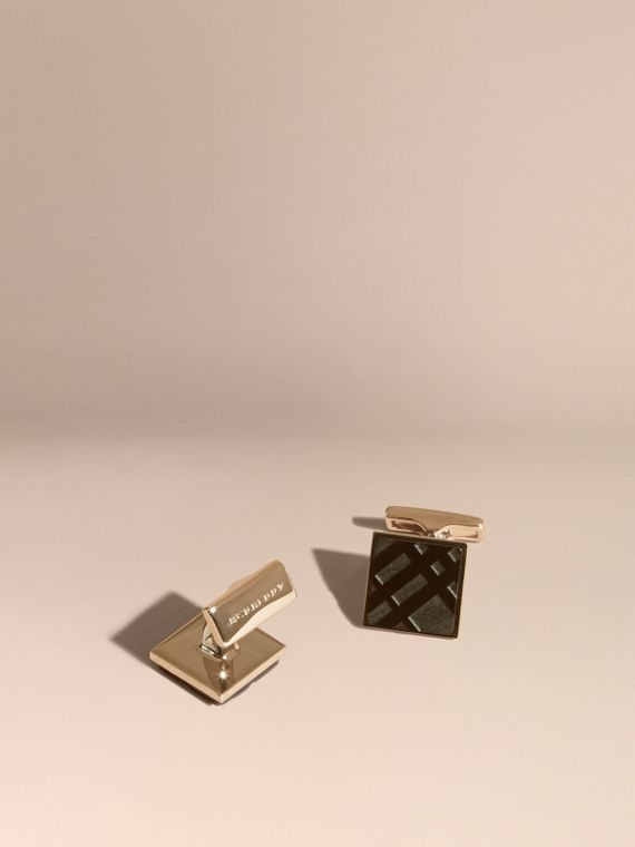 Check-engraved Square Cufflinks in Black - Men | Burberry Singapore