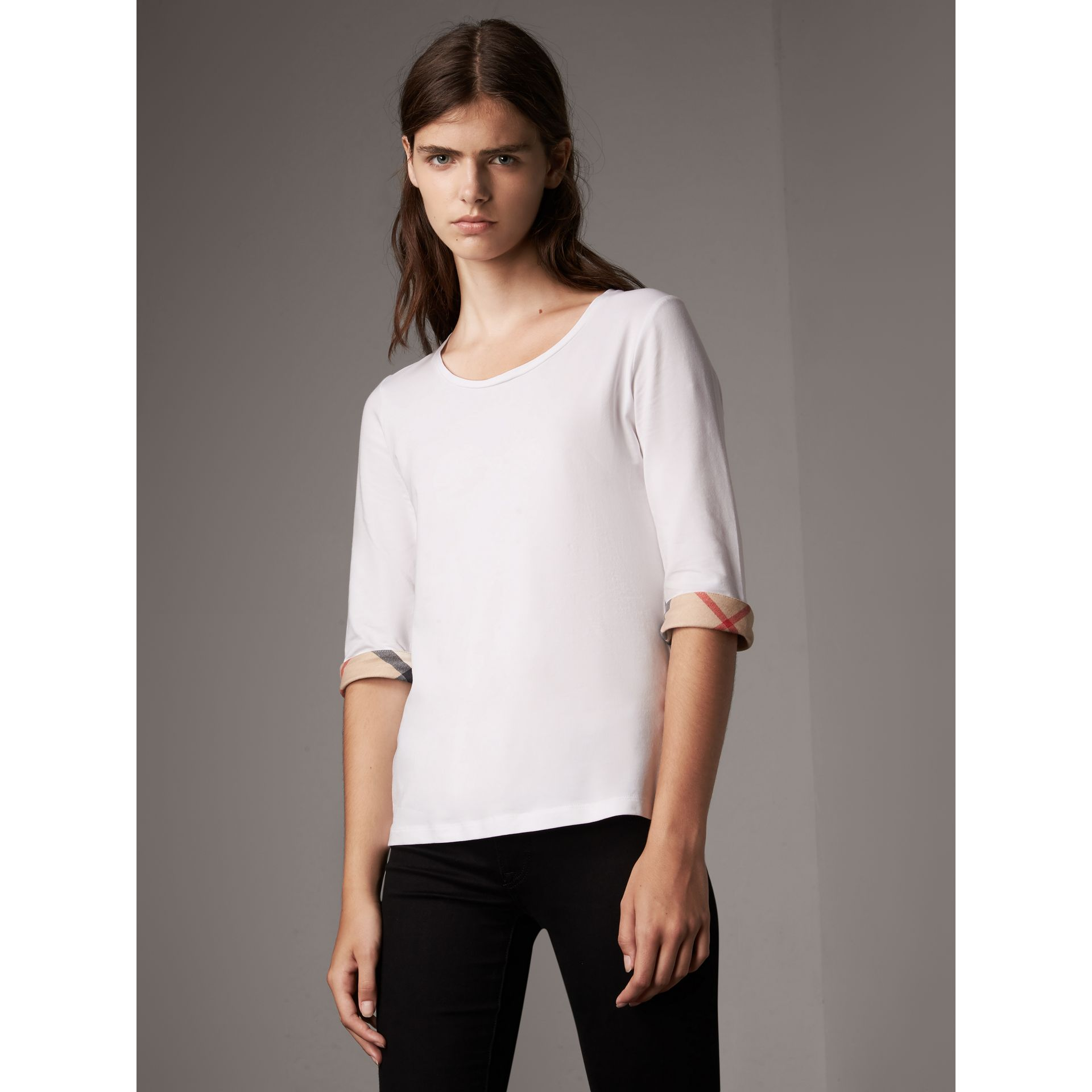 Check Cuff Stretch-Cotton Top in White - Women | Burberry Canada - gallery image 1