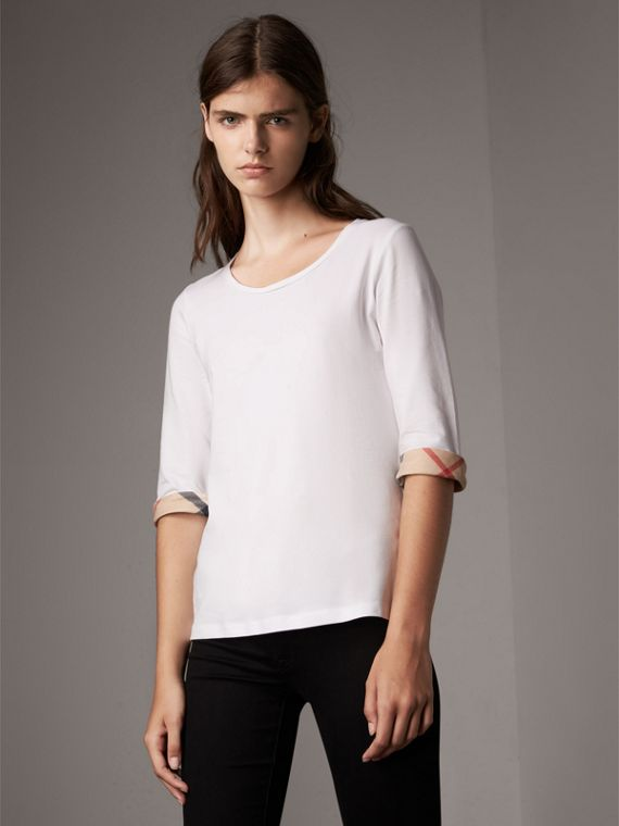 Check Cuff Stretch-Cotton Top in White