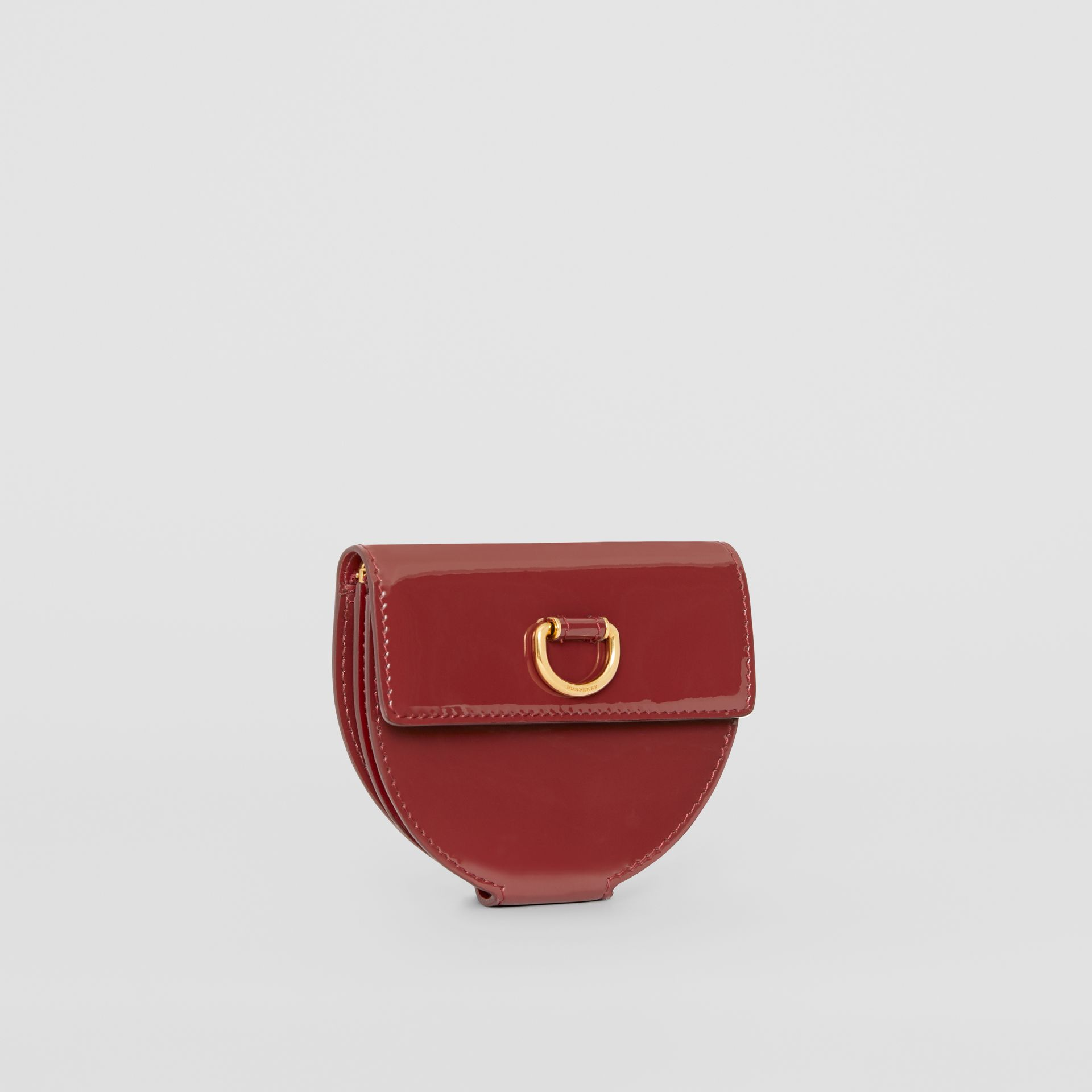 D-ring Detail Patent Leather Coin Case in Crimson - Women | Burberry - gallery image 4
